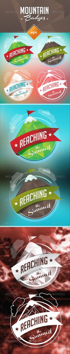 Mountain Badges Set  #GraphicRiver         A mountain badge with four different versions for mountaineering, alpinism, label, logos or concept ideas.  	 The file contains an AI and EPS vector format with the four versions of the badge, layered and organized.  	 Texts fully editable, you can check the fonts in the readme file included.  	 Background photographies are not included in the files. First vector background included in the original illustration.     Created: 12November13…