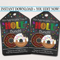 Donut Appreciation Gift Tags, Staff Teacher Volunteer Appreciation Gift, Donut Hole Gift Tag, Thanks a Latte, Volunteer Appreciation Gifts, Volunteer Gifts, Teacher Appreciation Week, Staff Gifts, Employee Appreciation Messages, Thanks A Latte, Candy Grams, Gift Tags Printable, Printable Valentine