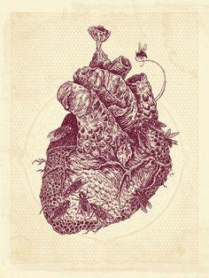 heart hive screenprint AngryBlue Justin Kramerer