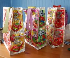Recycled Juice Pouch Lunch Bag - i can totally do this!!  :D -gl