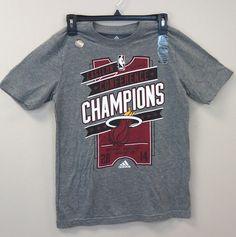038649460 Miami Heat adidas 2014 East Conf Champs YOUTH LG Tee NEW HeatherGray
