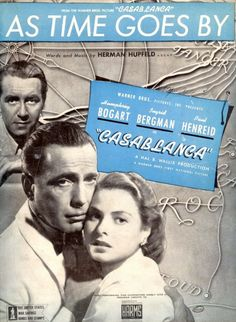 Casablanca AS TIME GOES By Sheet Music Vintage Hollywood Movie Collectible Vintage Sheet Music Humphrey Bogart Ingrid Bergman Classic Cinema Old Sheet Music, Song Sheet, Vintage Sheet Music, Piano Sheet, Music Sheets, Casablanca Movie, Casablanca 1942, Humphrey Bogart, Old Movies
