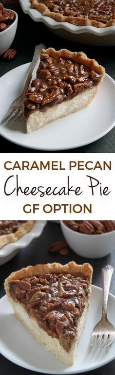 This caramel pecan cheesecake pie has a layer of caramel pecans over a cream cheese filling. With gluten-free, whole grain and all-purpose flour options. Perfect for Thanksgiving and Christmas! Made with /bobsredmill/.