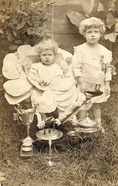 Children in their award winning fairy costumes show off their trophies, c. early 1900s