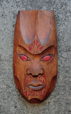 Matt Smiler Kura Gallery Maori Art Design Aotearoa New Zealand Carving Totara Female Mask Red Moko