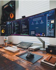 Home Office Setup, Home Office Space, Home Office Design, House Design, Office Workspace, Studio Design, Computer Desk Setup, Gaming Room Setup, Gaming Rooms