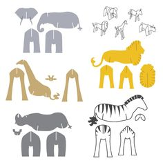 Zoo Animal Set Shape die sets are a smart way to invest in your die collection. They are the most popular dies plus you save money when you purchase dies in a set. Cardboard Animals, Paper Animals, Cardboard Sculpture, Cardboard Crafts, Diy Paper, Paper Art, Paper Crafts, Elefant Design, Animal Set