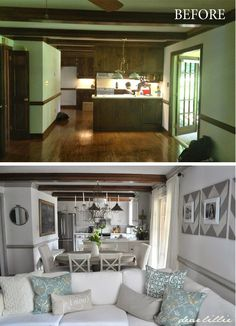 Home Renovation Before And After Dear Lillie: A Little Tour Through All the Befores and Afters So Far Remodeling Mobile Homes, Home Remodeling, Bathroom Remodeling, Small Kitchen Renovations, Before After Home, Style Deco, Home And Living, Living Rooms, Living Room Update