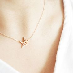 origami crane necklace, rose gold stainless steel jewelry for sensitive skin, everyday jewellery gift for her bridesmaid mom friend Christmas Xmas Origami, Style Matters, Friends Mom, Stainless Steel Jewelry, Rose Gold Plates, Crane, Jewelry Gifts, Bones, Arrow Necklace
