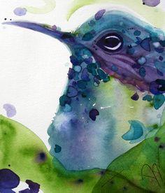 Watercolor Hummingbird Art Print.  via Etsy.