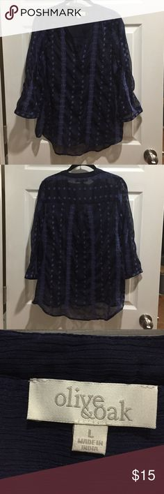 Blue embroidered top. Size large Blue embroidered blouse. Size large. Never worn. Olive & Oak Tops Blouses