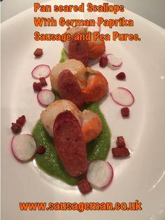 Pan seared scallops with German paprika sausage and pea puree