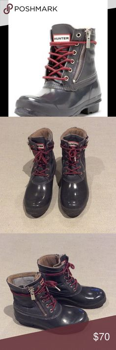 Hunter ankle boots These cute gray hunter boots with red laces are in great shape. Side zipper for easy on and off. Low heel with grippy rubber. Shoes Winter & Rain Boots