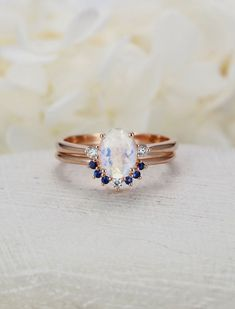 Moonstone Engagement Ring set Rose gold Oval cut engagement ring curved wedding women Diamond Bridal Sapphire ring Anniversary gift for her Beautiful Wedding Rings, Wedding Rings For Women, Engagement Ring Settings, Diamond Engagement Rings, Halo Engagement, Or Rose, Rose Gold, Diamond Rings, Fine Jewelry