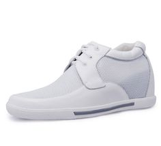 White  increasing height shoes 7cm / 2.75inch with the SKU:MENJGL_A890_2 - White men height increase casual shoes get taller 7cm / 2.75inches