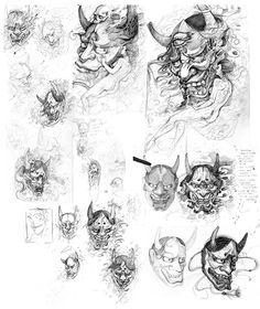 Chronic Ink Tattoo - Toronto Tattoo Hannya Mask process sketches by Evan.