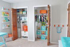 Project Nursery - Gray Striped Orange and Aqua Nursery Closet; closet organization