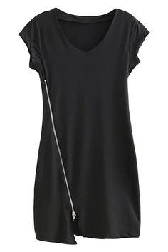 ac96b4a25c33 Black V-neck Bias Zipper Mini Dress - US 22.95