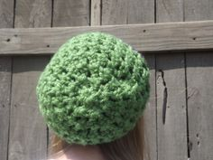 """Hand CrochetedStriped Slouchy Hat In Green Dark by WillowPrairie, $20.00 This fun slouchy hat is a perfect winter accessory! It has plenty of strech and is perfect for everyday wear. This is one of my favorite hats especially when you have a bad hair day you can just put all your hair into the hat and you are good to go!  Ready to ship.   Size: adult or teen (21"""" with stretch) Color: Green and Dark Purple Fiber: 100% Acrylic (very soft)  Machine wash and dry!"""