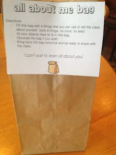 Back to school All About Me Bag – I did that last year at the beginning of the school year. The kids loved it and it's a fun way to get to know each other, so I'll do it again! Just give the children a brown paper bag on the first day of school and … First Day Activities, Back To School Activities, Classroom Activities, School Ideas, All About Me Activities Eyfs, Primary Classroom Displays, Preschool Classroom Setup, Year 1 Classroom, Preschool First Day