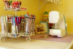Cupcake stand to hold stuff. Love it. Raising up Rubies: a little girl's craft nook ... ♥