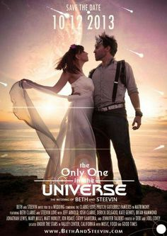 Awesome movie poster save the date - could stand to tone down the lens flares though.