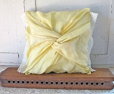 Vintage Tea Towel Pillow Butter Yellow by JwrobelStudio on Etsy, $42.00