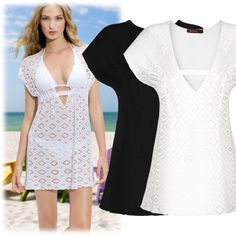Womens Sexy Summer Beach Dress Swimwear Bikini Cover Up Lace Crochet V-Neck Shirt Dresses 8-16  D0045