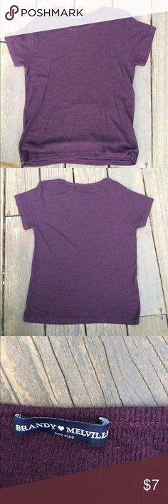 Maroon Ribbed Brandy Melville Tee Cute and comfortable simple Maroon Brandy Melville tshirt. It's ribbed and the fabric is so comfortable. Only been worn once or twice and is in perfect condition. Perfect closet staple for summer or winter. Brandy Melville Tops Tees - Short Sleeve