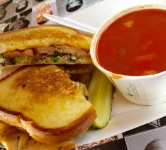 Grilled Cheese in the back of a school bus at the Grilled Cheese Grill is a must in Portland.