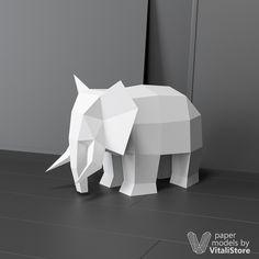 Papercraft Elephant, Paper Craft Sculpture PDF Template, Lowpoly Animals DIY Papercraft Gift, Origami, Pepakura Papercraft Do it yourself Paper Animals, Origami Animals, Low Poly, 3d Paper Crafts, Paper Art, Silhouette Cameo, Modelos 3d, Smart Art, Origami Tutorial