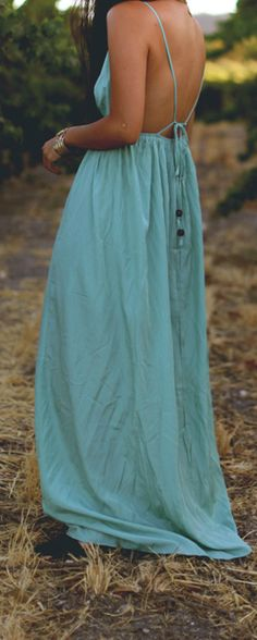 Backless Seafoam Maxi Dress