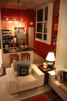Small Studio Apartment Layout Design Ideas - home design Tiny Spaces, Small Apartments, Studio Apartment Layout, Sweet Home, Appartement Design, Red Walls, Paint Walls, Room Paint, Home Design