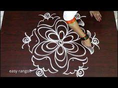 latest rangoli designs with 5 dots    creative kolam designs    easy muggulu designs with dots - YouTube