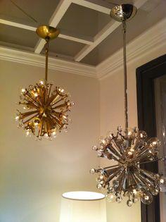 Mini Sputnik chandelier in nickel and brass by Jonathan Adler for Robert Abbey. #hpmkt