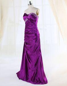 Strapless Beading Satin Formal Long Prom Dress | OKmarket.com