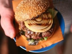 Cowboy Bison Burgers with Whiskey-Glazed and Charred Onions from CookingChannelTV.com