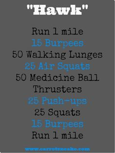 """HAWK full body workout with running and bodyweight exercises. Might need a medicine ball for thrusters trainieren mit geräten 10 Miles + """"Hawk"""" WOD Crossfit Workouts At Home, Wod Workout, Insanity Workout, Cardio Workouts, Running Workouts, Beach Workouts, Track Workout, Workout Routines, Workout Fitness"""