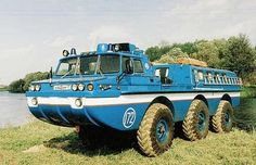 The ZIL 49061 is a triaxial floating vehicle with a manual transmission, independent suspension, and two screw propellers. All its wheels turn; disk brakes are situated in the body of the vehicle.    It was put into mass production and some of them still serve in military space forces. In 2002, two ZILs were transported to Germany to evacuate citizens from flooded areas after a very strong flood.