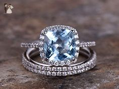 3pcs blue topaz wedding ring set!8mm Cushion Engagement ring,white gold plated,925 sterling silver stacking Bridal ring,FULL eternity ring,Man Made diamond CZ ring,any size - Wedding and engagement rings (*Amazon Partner-Link)