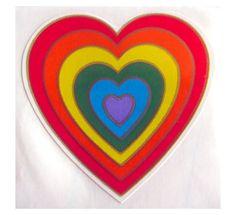 Rare Vintage Illuminations Rainbow Burst Heart Sticker 80's. I had this one!!