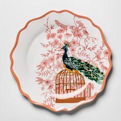 "Melamine Dinner Plate 10.5"" Pink/Orange Peacock - Opalhouse™ : Target"