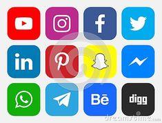 Logos of social networking sites icons Facebook Twitter Instagram LinkedIn Pinterest Youtube WhatsApp Snapchat Messenger Digg Telegram Behance social media #download #logo #upload #svg