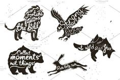 Vintage animal set with quotations by julymilks on @creativemarket