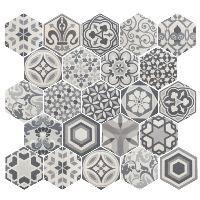Carrelage hexagonal 17,5x20 Tomette Harmony B&W - 1m2 Equipe