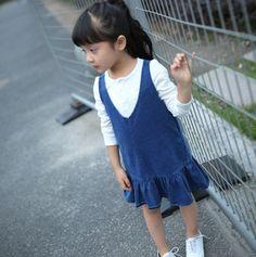c22f54007adf5 「hys0001ks 韓国子供服 ◇すそフリル付き ジャンパースカート◇ 子供服 キッズ ジュニア