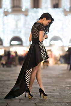 "34 Look Ideas For Your Spring Walk.  I am pinning specifically this black/white hi/low hem beautiful dress for this board. If you click on it though (I think twice takes you back to the original pin) you should see the other 33 pins for ""Spring 2013""."