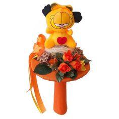 Ballagási szárazvirág csokor Garfield figurával - Szárazvirág díszek webáruháza