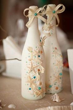 DIY Seaside Wedding Decor with Upcycled Wine Bottles #recycledwinebottles