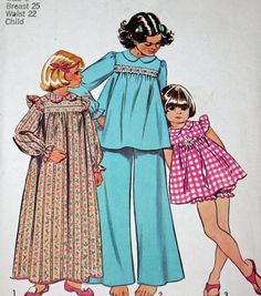 Vintage 1970s Sewing Pattern Simplicity 5999 Girl's